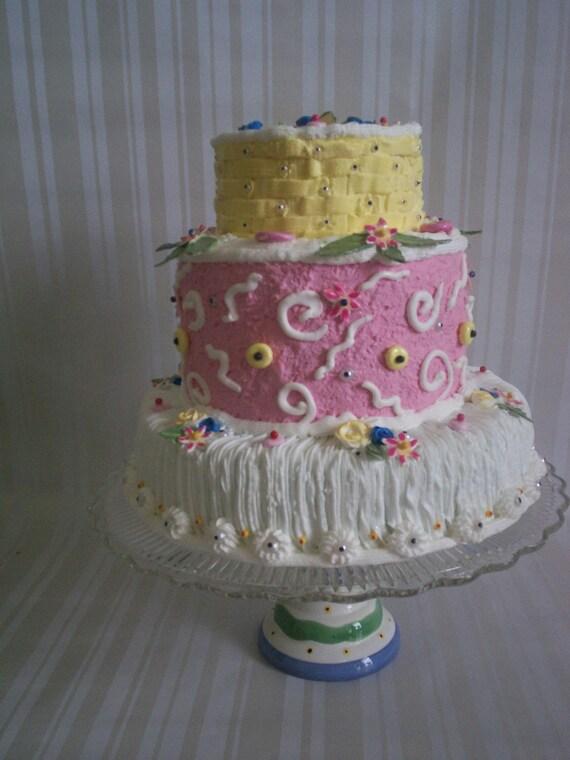 Faux Cake Beautiful Fun  Birthday Centerpiece /  Artificial Display Cake