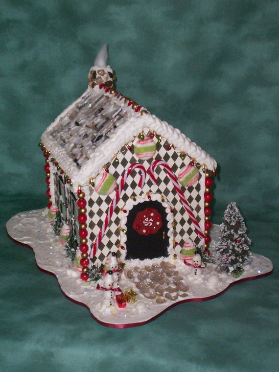 Christmas artificial gingerbread house centerpiece sale