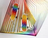 Psychedelic Wave Skateboard Earrings