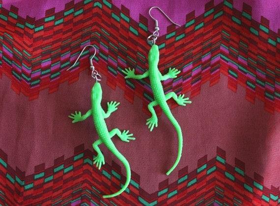 Green Lizard Earrings