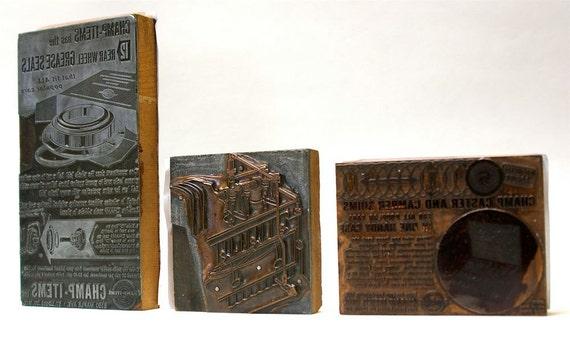 Three Vintage Automotive themed Letterpress Blocks- Sale
