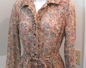 ON SALE Melissa Lane Brown Floral Prairie Country Vintage 1970s Dress 10