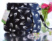 White Sparrow on Black Background  - Wristlet ,Clutch , Purse , Bag