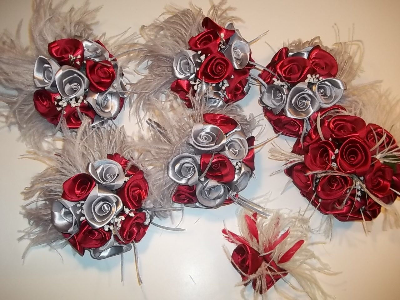 Custom Order For Bethanne 46 Wedding Bouquets In Gray And Red