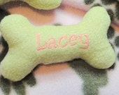 Personalized Handmade Fleece dog bone w/squeaker for small dogs/puppies