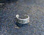 PEACE toe ring- sterling silver, handmade, very comfortable