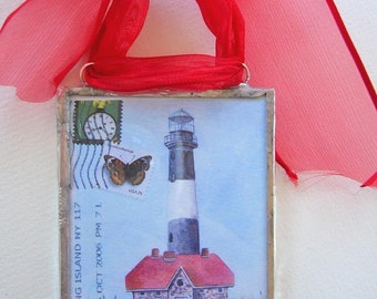 Long Island Postcard Ornament - Fire Island Lighthouse watercolor postcard ornament