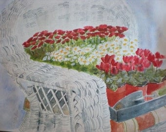 Wicker Chair with Flowers - Original Watercolor Painting 18X24