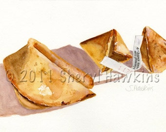 Fortune Cookies  Painting-Original Watercolor Painting -  Still Life