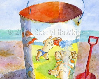 Beach Sand Pail Watercolor- Pig Family at the Beach