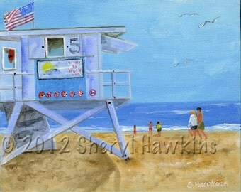 Lifeguard Tower 5  beach painting on canvas original acrylic painting california beach