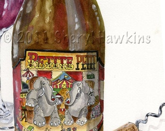 Wine Bottle Watercolor Painting- Petite Petit michael david winery corkscrew red wine circus elephants