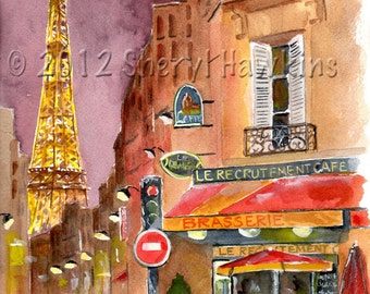 Eiffel Tower  Watercolor Painting -  Rue St. Dominique Paris Eiffel tower night lights tine art print