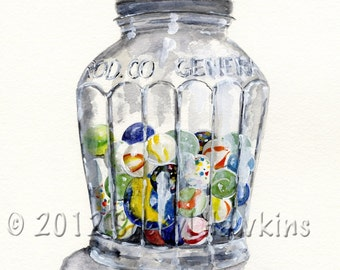 Jar with Marbles- Watercolor , still life painting vintage jar marbles