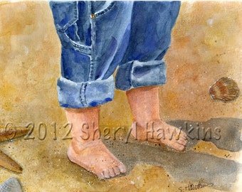 Beach Baby watercolor - baby feet watercolor painting  sand beach