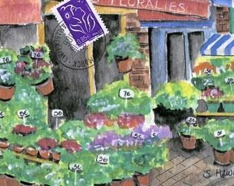 Paris Flower Shop painting -  Rue Cler watercolor post card  fleurs fine art print of original watercolor