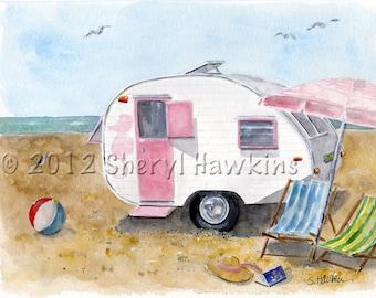 Vintage Camper at Beach Print of original watercolor- California Dreamin' watercolor fine art print travel trailer beach