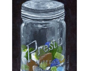 Sea Glass in Mason Jar,   Antique Jar , sea glass, beach glass, colored glass-fine art print of an original painting