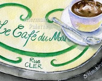 Rue Cler CafeTable watercolor - Le Cafe du Marche art printRue Cler Paris, France