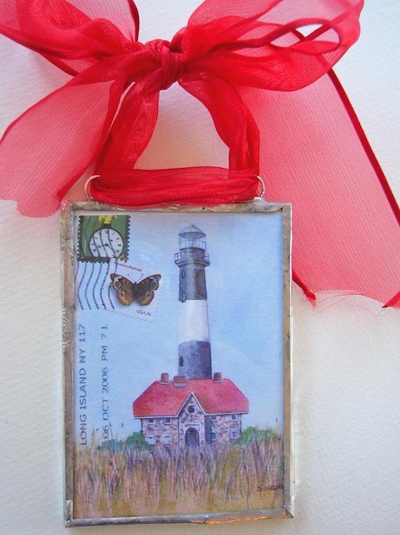 Long Island Postcard Ornament - Fire Island Lighthouse watercolor postcard ornament