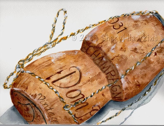 Champagne Cork Watercolor Painting