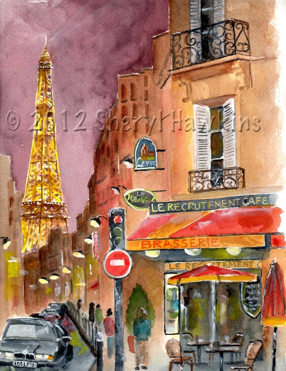 Eiffel Tower  Watercolor Painting -  Rue St. Dominique Paris Eiffel tower night lights tine art print