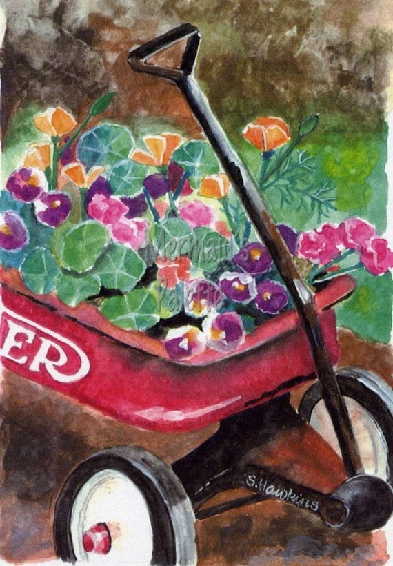 Red Wagon Garden watercolor -  fine art print radio flyer with flowers watercolor