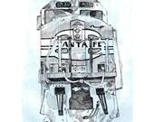 Locomotive Train Art Print, 5x7, Santa Fe Railroad