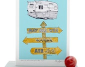 Not All Who Wander Are Lost Art Card, Vintage Scout RV Trailer, Tolkien Quote