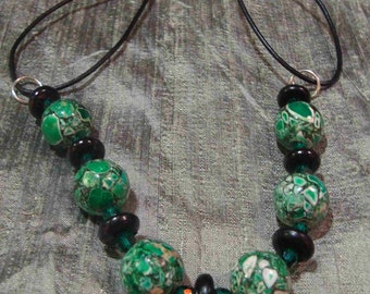 Wintergreen  mosaic and black horn Leather Choker   Tribal Jewelry   Boho Jewelry  Boho choker  Tribal Choker