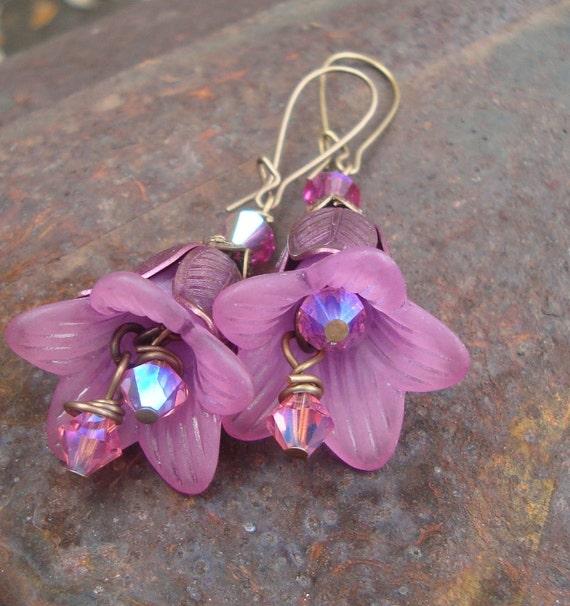 Parisian Flower Market  Plummy Pink Tulip Dangles  Vintaj Brass Vintage lucite