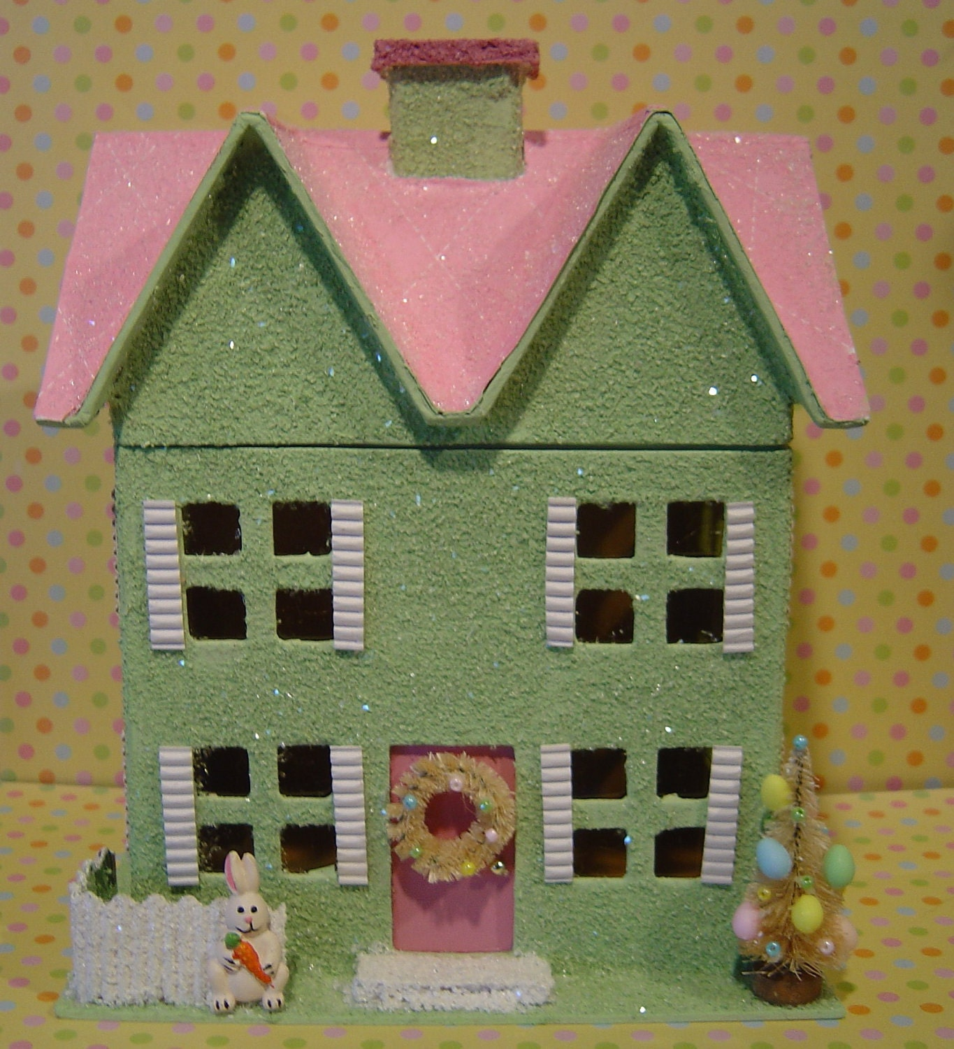 Paper Mache Pastel Easter Glitter House 9 Inch