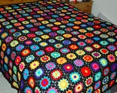 Granny Square Black/Off White Neon King Size Bedspread Made to Order