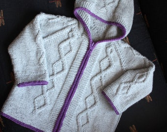 LIV'S COAT Cabled Jacket Cardigan with Hood 3months to 6years  Knitting Pattern PDF