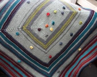 JADYN'S BLANKET Baby to Toddler Afghan Lovie Stripes and Bobbles Knitting Pattern PDF