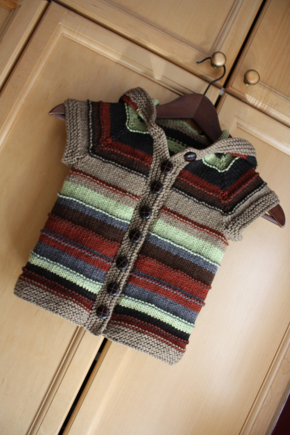 TREEFORT JACKET Striped Hoody  3 months to 10 years Quick Fun Cute Knitting Pattern PDF