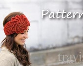 CROCHET PATTERN PDF - Instant Digital Download - Crocheted spiral flower headband / earwarmer / headwrap- CaN Sell Finished pieces
