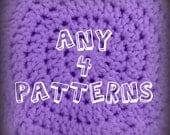 Any 4 crochet patterns from yarnlovertn - CROCHET PATTERN PDF Bundle