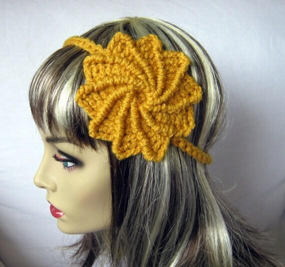 Free Crochet Patterns For Summer Headbands : PDF PATTERN Crocheted Summer Spiral Flower Headband by ...