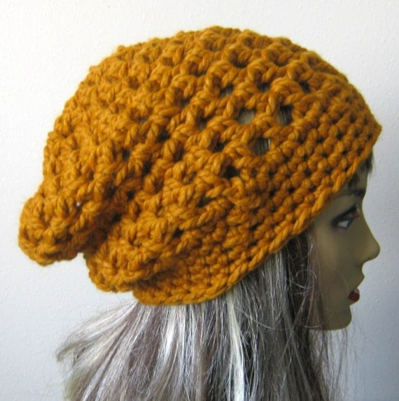 Crochet Hat Pattern For Chunky Yarn : PDF PATTERN Crocheted Chunky Mesh Slouchy Hat You CAN sell