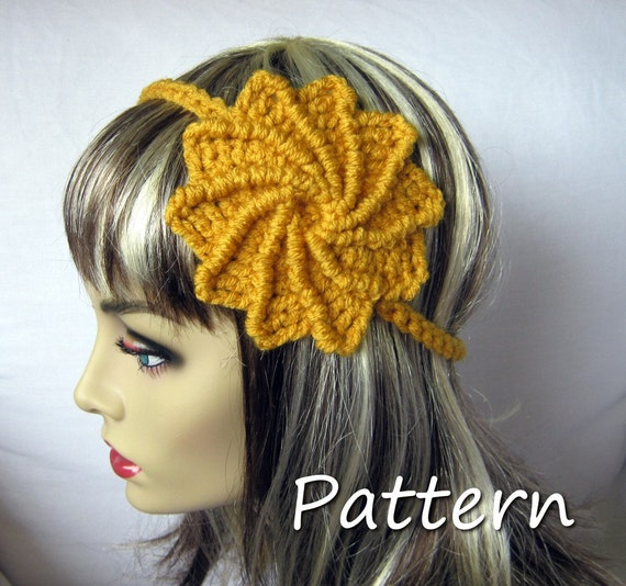 CROCHET PATTERN PDF - Instant Digital Download - Summer Spiral Flower Headband - Women - Teen