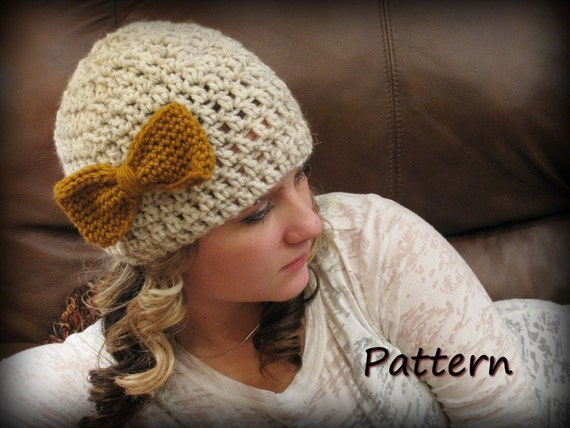 CROCHET PATTERN PDF -Instant Digital Download - Crocheted Bow Beanie - CaN sell items made from this pattern
