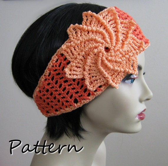 CROCHET PATTERN PDF - Instant Digital Download - Crocheted Summer Mesh Spiral Flower headband  - Spring - CaN sell finished items