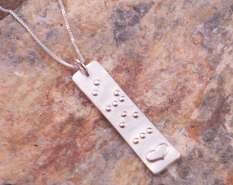 LOVE in Braille Slim Pendant in Pure silver... Jewelry in Braille