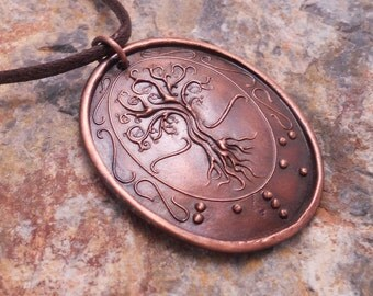 Tree of Life Braille Pendant..in copper..Jewelry in Braille