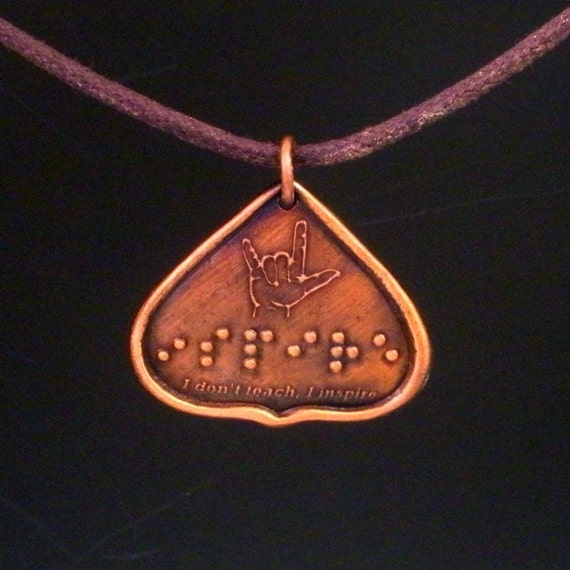 Teacher's Gifts in Braille...I don't teach I inspire...Jewelry in Braille