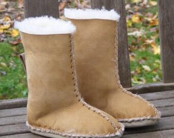 Kid's custom tall sheepskin slippers