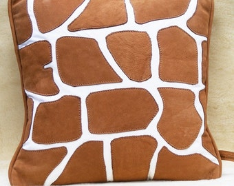 brown deer tanned cowhide and white leather giraffe 2 pillow