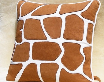 white leather and deer tanned suede giraffe 1 pillow