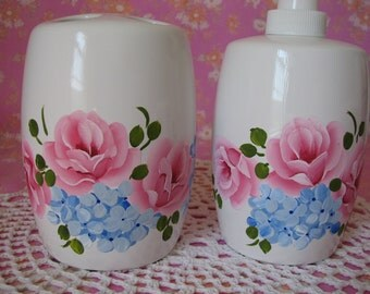 Soap Lotion Dispenser Pump Toothbrush Holder Hand Painted Pink Roses, Blue flowers